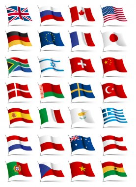 Set of flags. Glossy buttons. stock vector