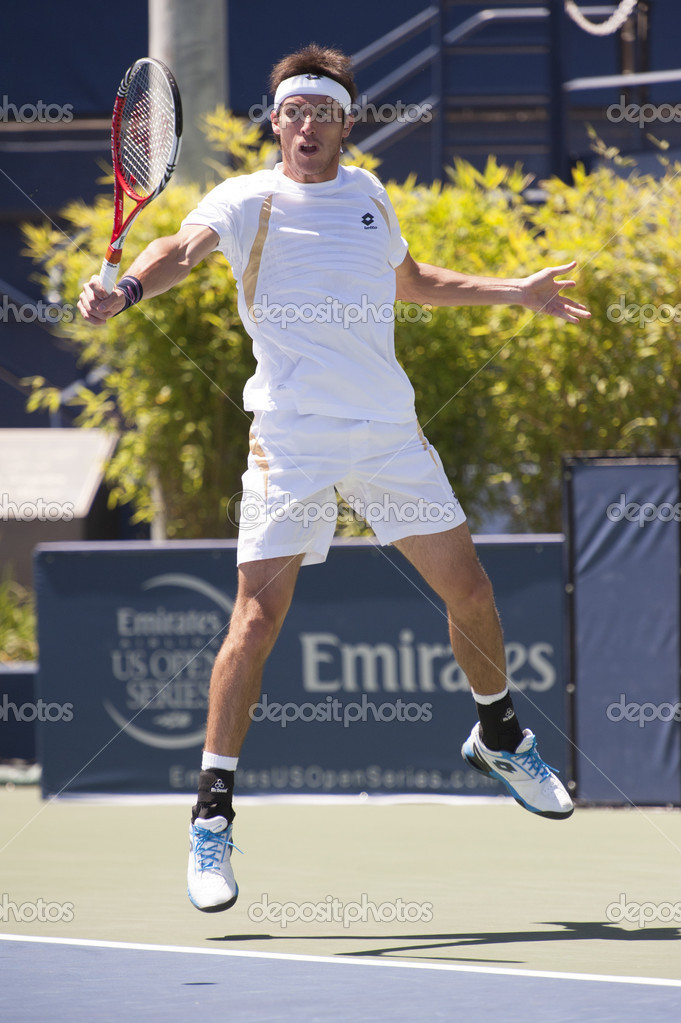 Leonardo Mayer in action during the game – Stock Editorial Photo