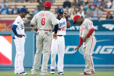 Dee Gordon, Ryan Howard, Tony Gwynn and Jimmy Rollins have a laugh before the game