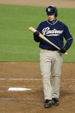 DAVID ECKSTEIN at bat takes a second before stepping into the batters box during the game