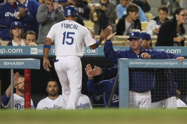 RAFAEL FURCAL gets congratulated by his team after scoring during the game