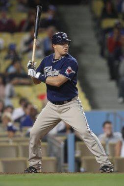 NICK HUNDLEY at bat during the game