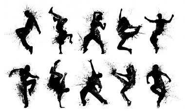 Collection dancing silhouettes in grunge style. stock vector