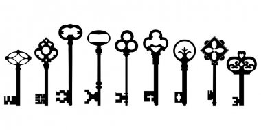 Collection antique keys. stock vector