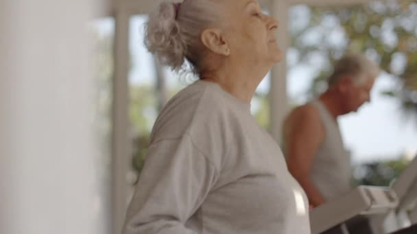 young woman working as personal trainer and helping senior couple exercising in wellness club