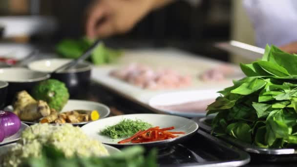Close-up of chef hands cooking and preparing Asian food