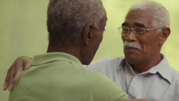due fratelli neri senior parlando e abbracciarsi nel parco