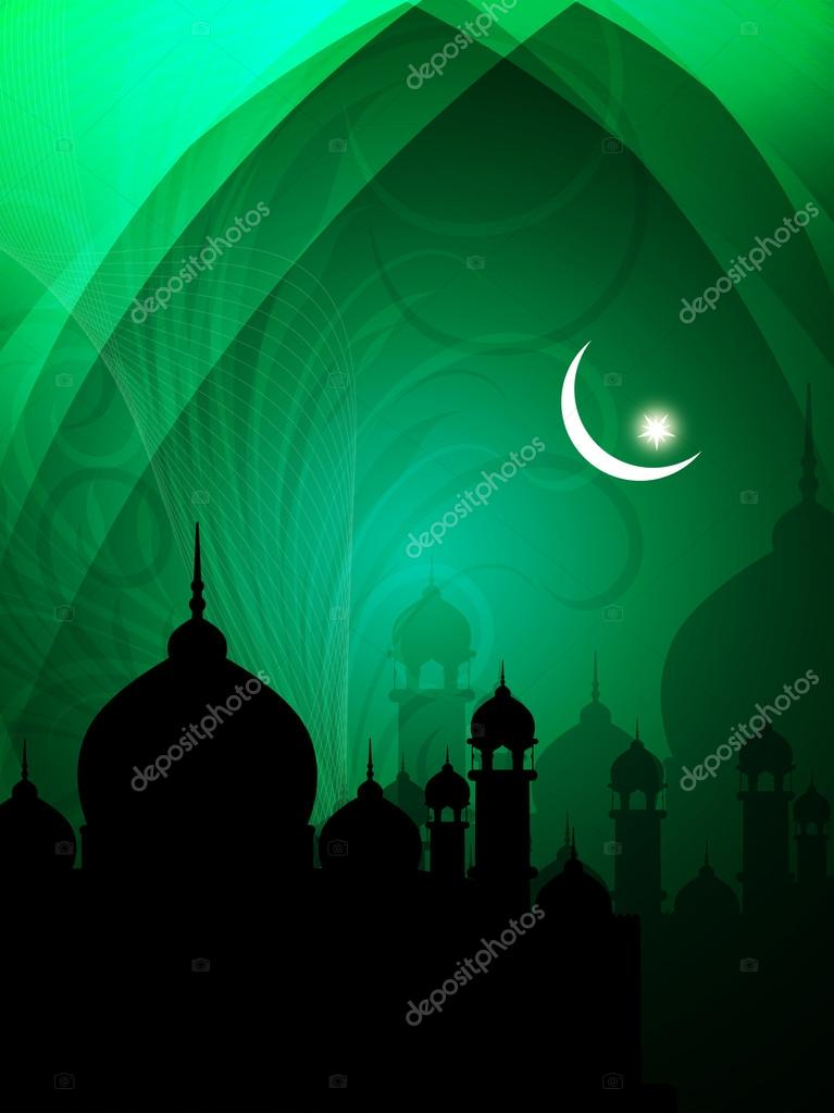 Abstract spiritual eid background in green color with mosque.