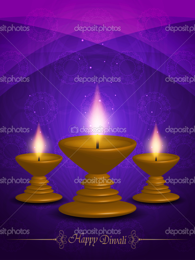 Colorful background for diwali with beautiful lamps.