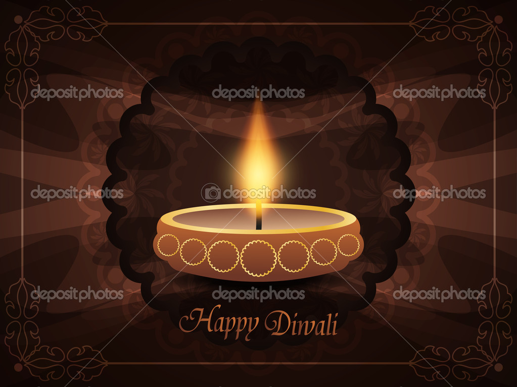 Religious background with beautiful lamp for diwali