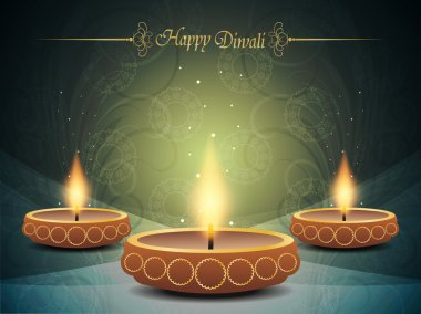 Vector illustration of colorful background design for diwali with beautiful lamps. stock vector