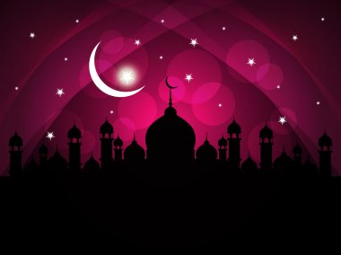 Abstract religious eid background with mosque.