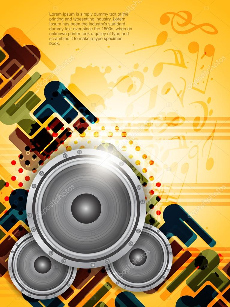Abstract music theme background with loudspeakers.