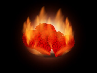 Creative background with two burning hearts.