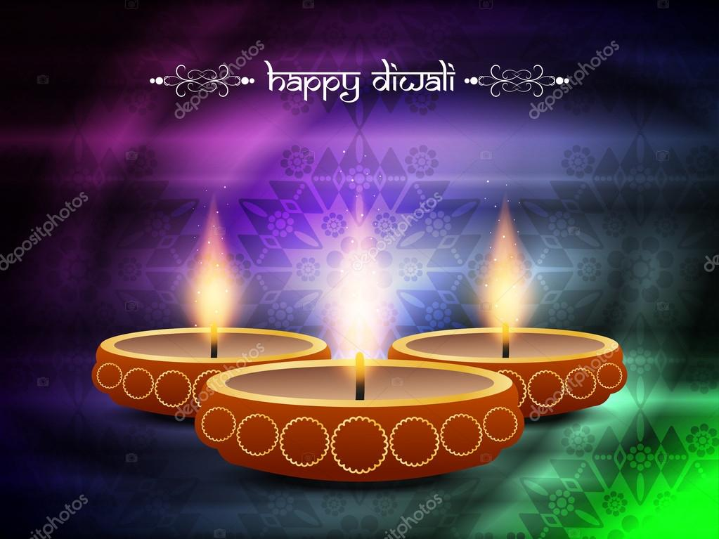 Religious background design for diwali festival with beautiful lamps.