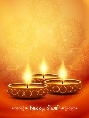 Religious elegant background for diwali with beautiful lamps.