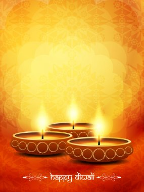 Vector illustration of religious elegant background for diwali with beautiful lamps. stock vector