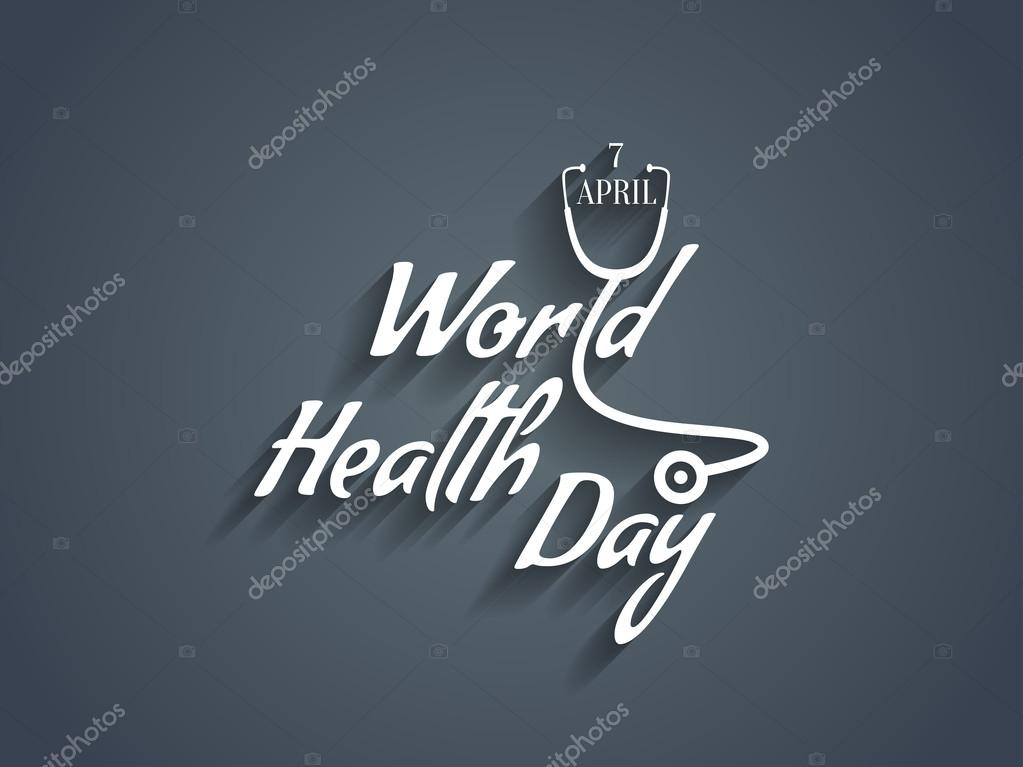 Creative white color text design element of world health day.