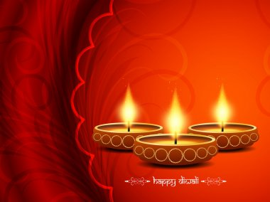 Elegant card design of traditional Indian festival Diwali with lamps stock vector