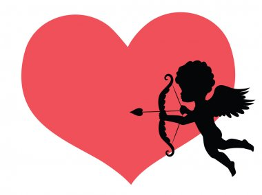 Silhouette of a cupid and a big red heart on the background. clip art vector