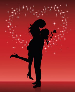 Silhouette of a man lifting a woman up in his hands on a red background with sparkles in shape of a heart.