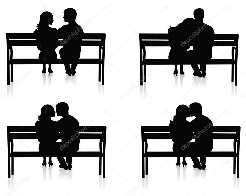 Different silhouettes of couples on benches.