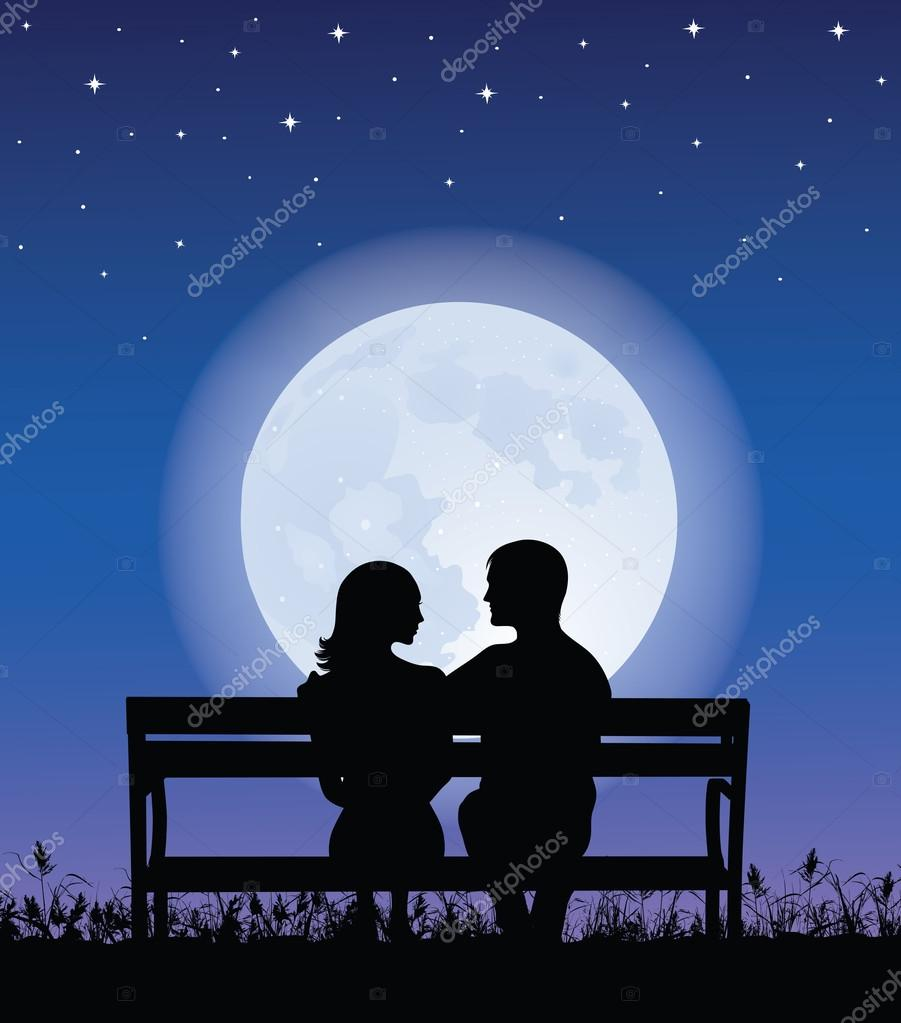 Silhouettes of man and woman sitting on a bench at night time. On the background full moon and stars.