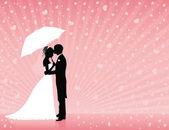 Fotografie Silhouetten von Bräutigam und Braut stehen und umarmt auf rosa Hintergrund. Bräutigam hält einen Regenschirm. Herzen regnen