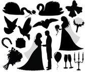 Fotografie Sammlung von Hochzeitssilhouetten.