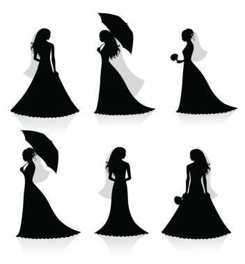 Set of vector silhouettes of a bride.