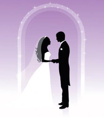 Black and white silhouettes of a groom and a bride holding hands and standing under an arch on a purple background.