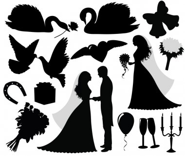 Collection of a wedding silhouettes.