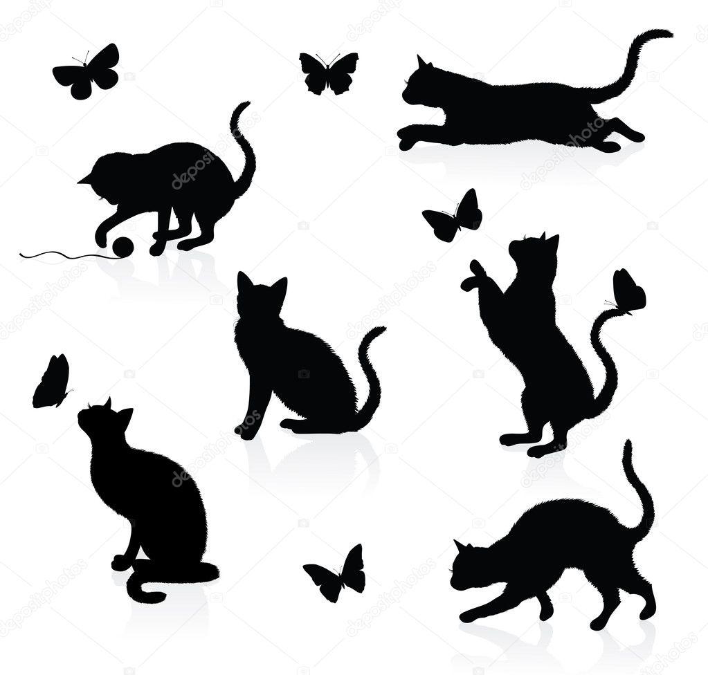 Siluetas De Animales Mariposas Siluetas De Gatos Con Mariposas