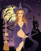 sexy Hexe mit einem Besen. Vollmond, fliegende Fledermäuse und die Silhouette einer Burg auf einem Berg im Hintergrund.