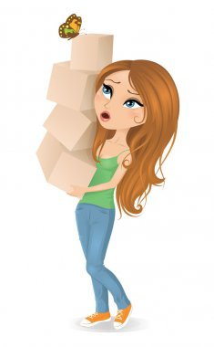 Cute cartoonish woman holding moving boxes.
