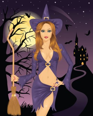 Sexy witch holding a broom. Full moon, flying bats and silhouette of a castle on a mountain on the background.