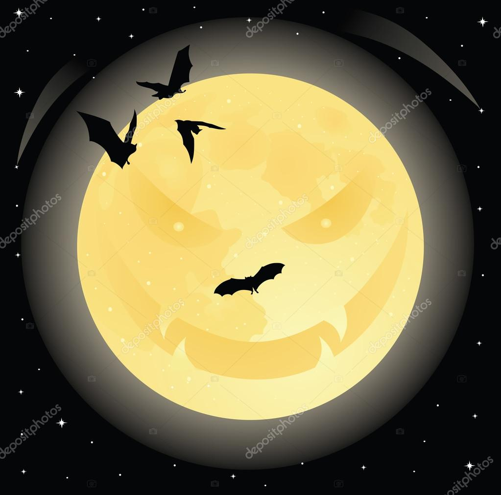 Злой Хэллоуин улыбающееся лицо на Луне в ночное небо ...