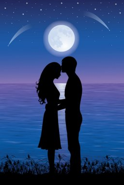 Silhouettes of man and woman hugging and kissing at night time. On the background full moon and stars over the sea. clip art vector