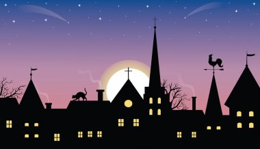 Sunset or sunrise over a medieval town. clip art vector