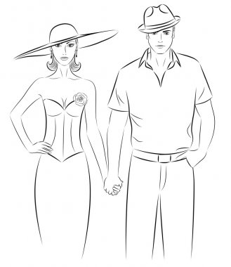 Outline of a woman and a man in a a hat, holding hands.