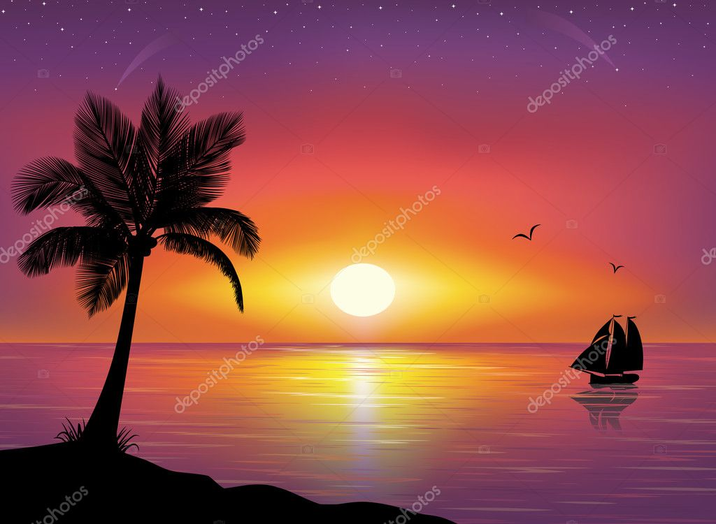 Silhouette of a ship at the sea and silhouette of palm tree in the foreground. Beautiful Sunset and stars at the seaside in the background.