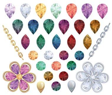 Set of jewelry gems