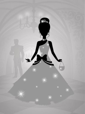 Silhouette of a cute princess in castle waiting for the prince