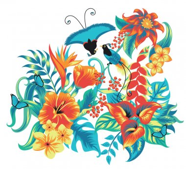 Tropical pattern with birds.