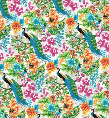 Seamless tropical pattern with peacocks and flowers.