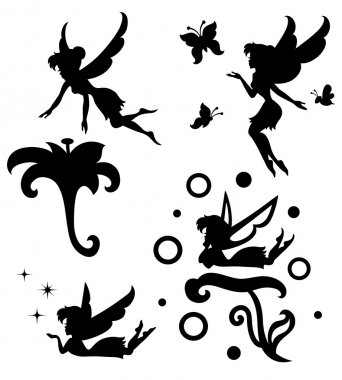 Collections of vector silhouettes of a fairy. stock vector