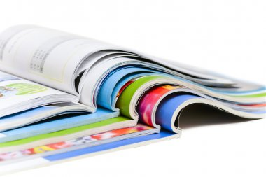 Color magazines isolated on the white background stock vector