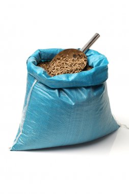 Bag of rabbit feed on white background