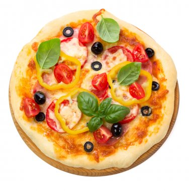 Pizza with ham, tomato and olives isolated on white background.