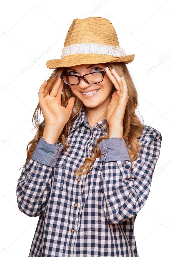 Retrato de una mujer joven linda vestida con r 4e96a7ca5d2